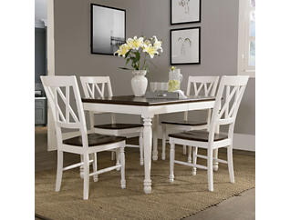 Shelby 5PC White Dining Set, , large