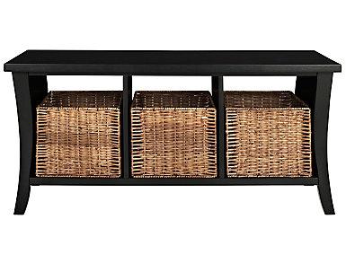 Trenton Black Storage Bench, , large