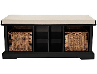 Liberty Black Storage Bench, Black, large