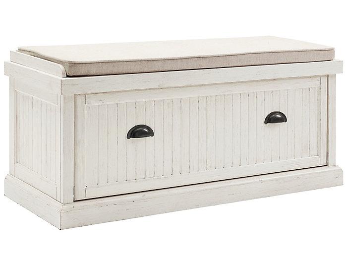 Radcliff White Storage Bench Large