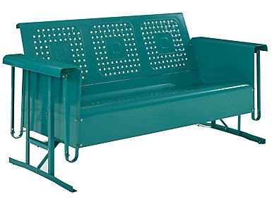 Bates Teal Glider Sofa, , large