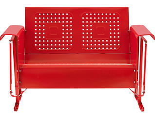 Bates Red Glider Loveseat, Red, large
