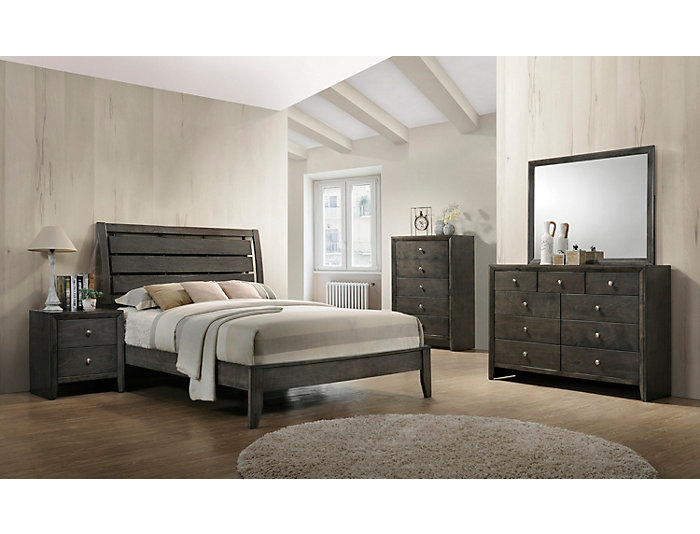 Evan Grey 5 Piece Queen Bedroom Set