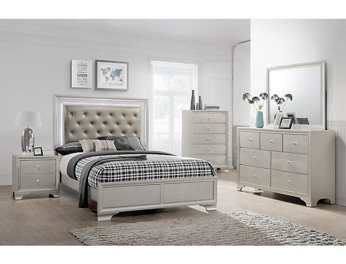 Lyssa Champagne 5 Piece King Bedroom Set Large