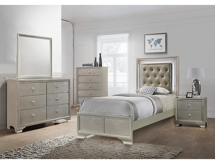 lyssa 5pc twin bedroom set outlet at art van. Black Bedroom Furniture Sets. Home Design Ideas
