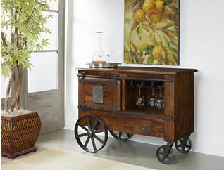 Mango Wood & Iron Tracks Wine Cart, , large
