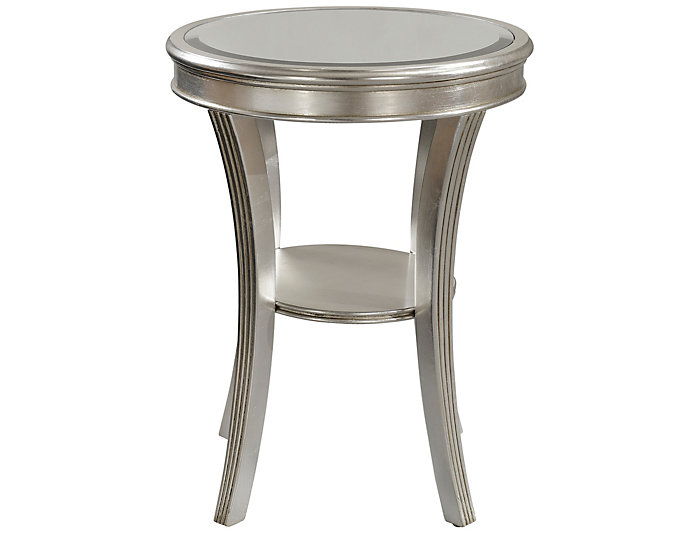 Silver Leaf Mirrored Top Accent Table