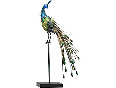 Peacock-on-Stand Sculpture, , large