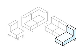White sectional diagram with chaise highlighted in blue