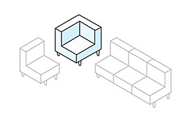 White sectional diagram with the corner piece highlighted in blue