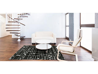 "Journey Black Grid 5' x 7'6"" Rug, , large"
