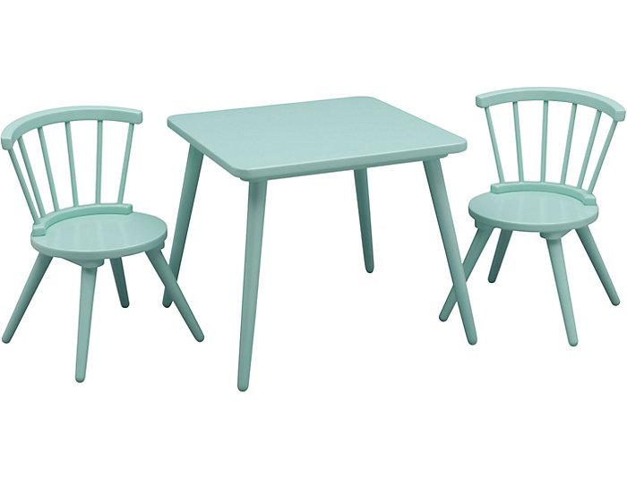 Windsor Table & Chair Set-Aqua, , large