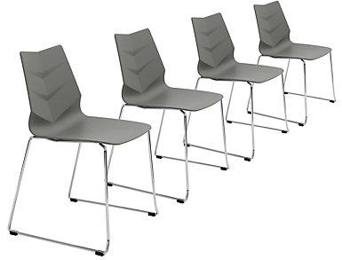 Leaf Chair (Set of 4), Grey, , large