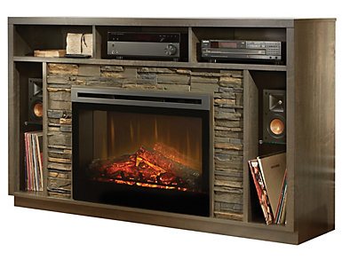 Brock Media Fireplace, Anthracite, , large