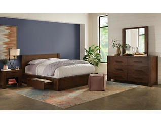Cascade King 3 Piece 1 Side Storage Bedroom Set, , large