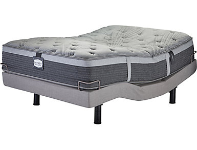 Detroit Mattress Company Trumbull Plush EuroTop King Mattress Adjustable Power Base Set, , large