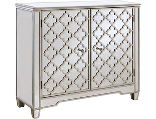 Quatrefoil Mirrored 2 Door Cabinet, , large
