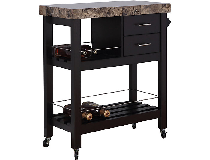 Kitchen Cart with Towel Bar, 2 Drawers and Faux Marble Top