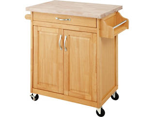 Simone Natural Kitchen Island, Brown, large