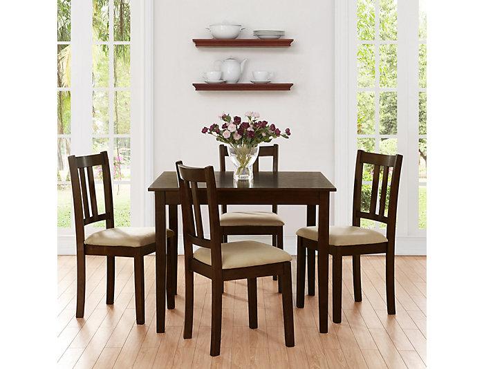 5 Piece Espresso Dining Set, , large