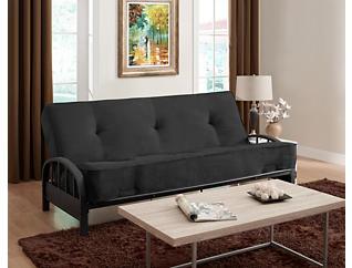 Aiden Black Sofa Futon Set, , large