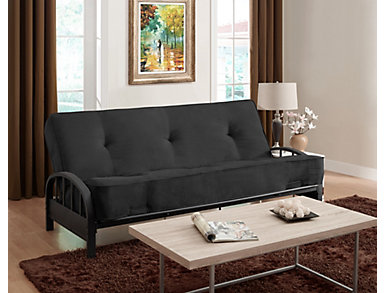 Aiden Black Sofa Futon Set, , large