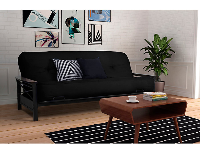 "Nadine Black 8"" Futon Set, , large"
