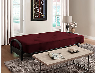 Aiden Merlot Sofa Futon Set, , large