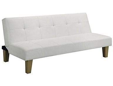 Aria White Tufted Sofa Futon, , large