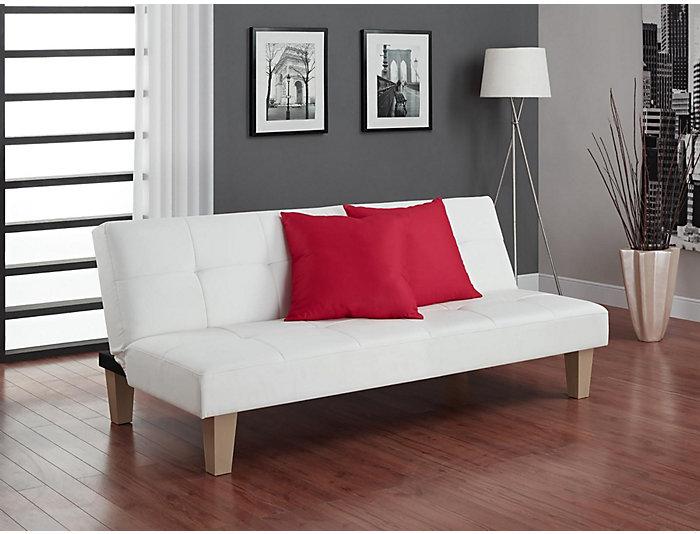 Aria White Tufted Sofa Futon, , large