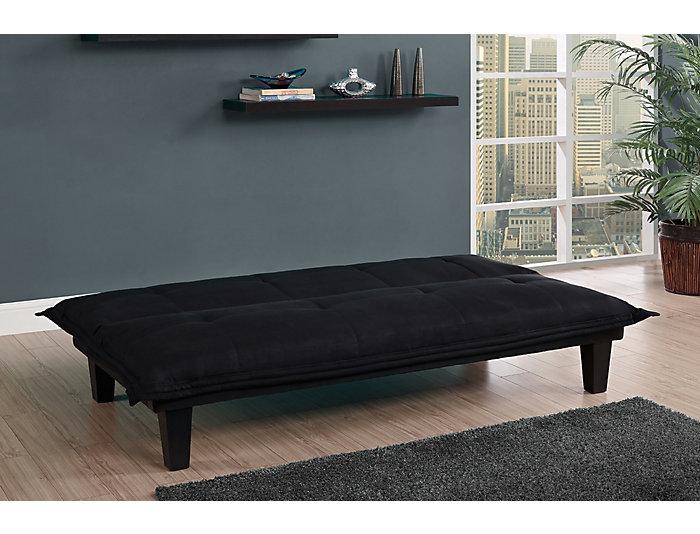 Lodge Black Tufted Sofa Futon, , large
