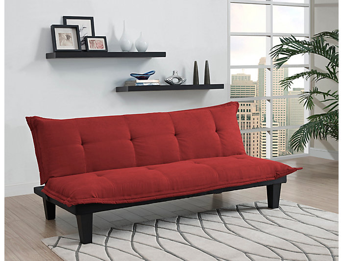Lodge Red Tufted Sofa Futon, , large
