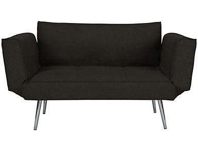 Euro Black Chair Futon, Black, large