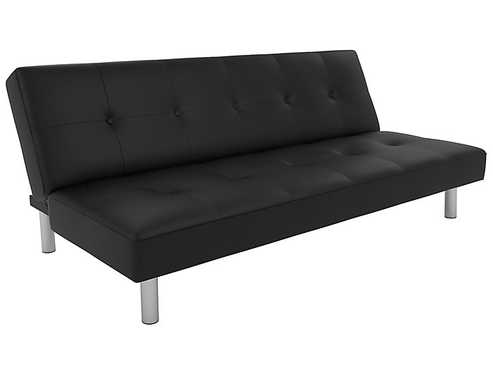 Nola Black Faux Leather Futon Large