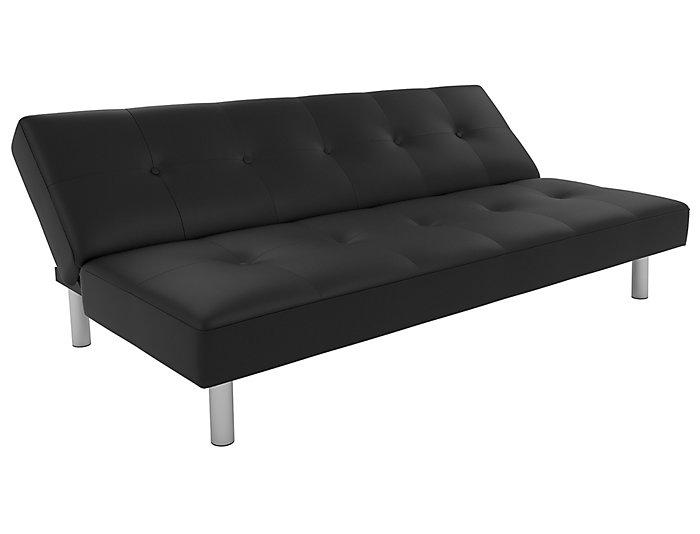 Nola Black Faux Leather Futon, , large