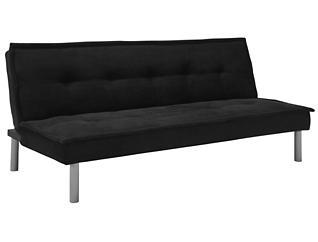 Kent Black Tufted Sofa Futon, , large