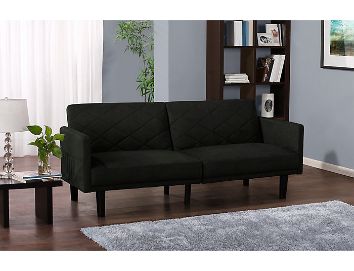 Cortland Black Sofa Futon, , large