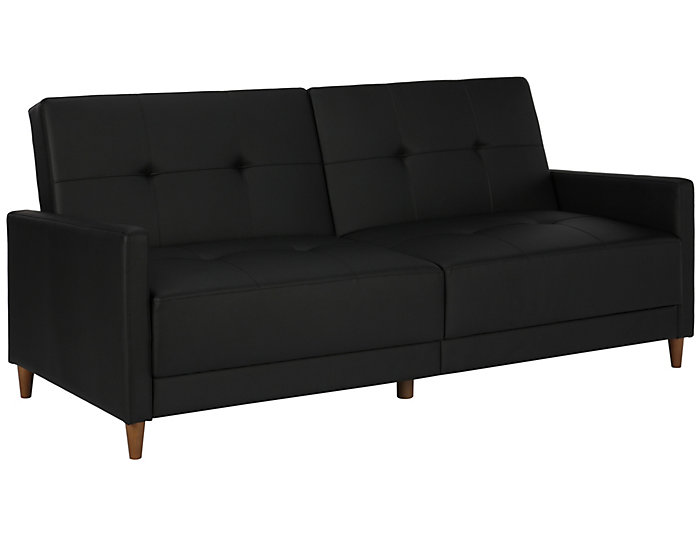 Andora Black Tufted Sofa Futon, , large
