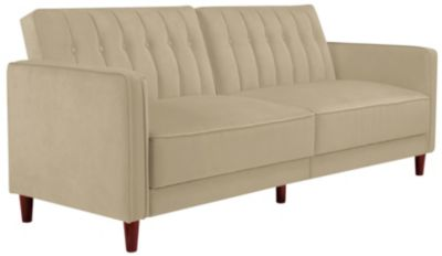 Pin Tufted Sofa Futon, Beige, swatch