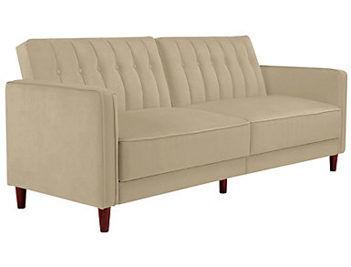 Pin Tufted Tan Sofa Futon, Beige, large