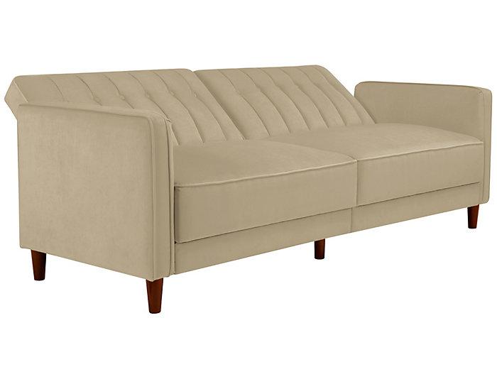 Pin Tufted Tan Sofa Futon, , large