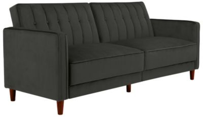 Pin Tufted Sofa Futon, Grey, swatch