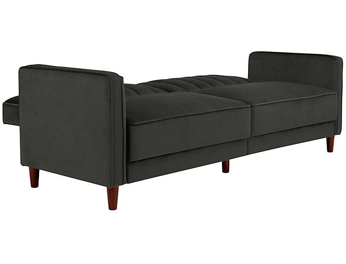 Pin Tufted Grey Sofa Futon, , large