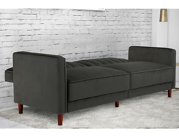 Pin Tufted Grey Sofa Futon, , large