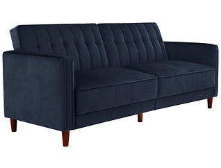 Pin Tufted Blue Sofa Futon, , large