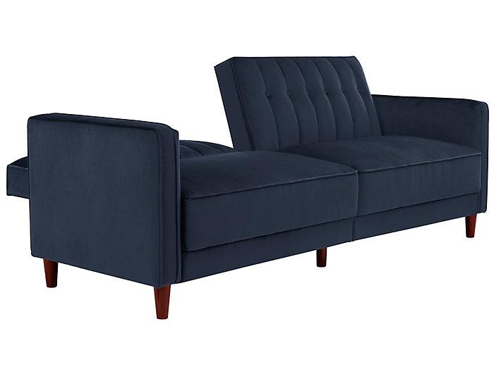 Pin Tufted Blue Sofa Futon, , large