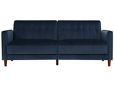 Pin Tufted Blue Sofa Futon, Blue, large