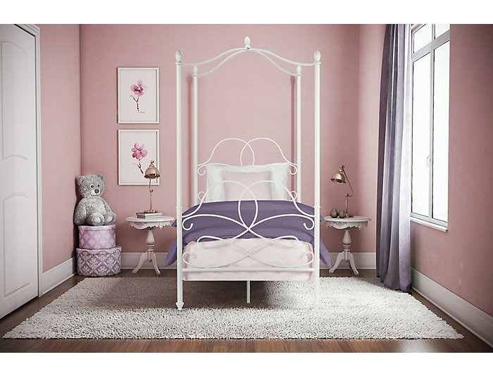 Fancy Canopy Twin White Bed, , large