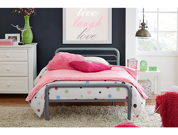 Slat Twin Metal Bed, , large