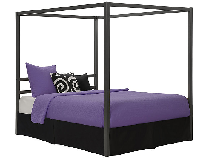 Modern Metal Queen Canopy Bed, , large